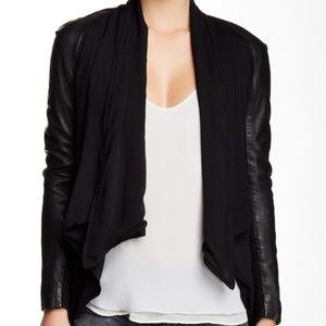Muubaa Canopus leather-chiffon draped jacket